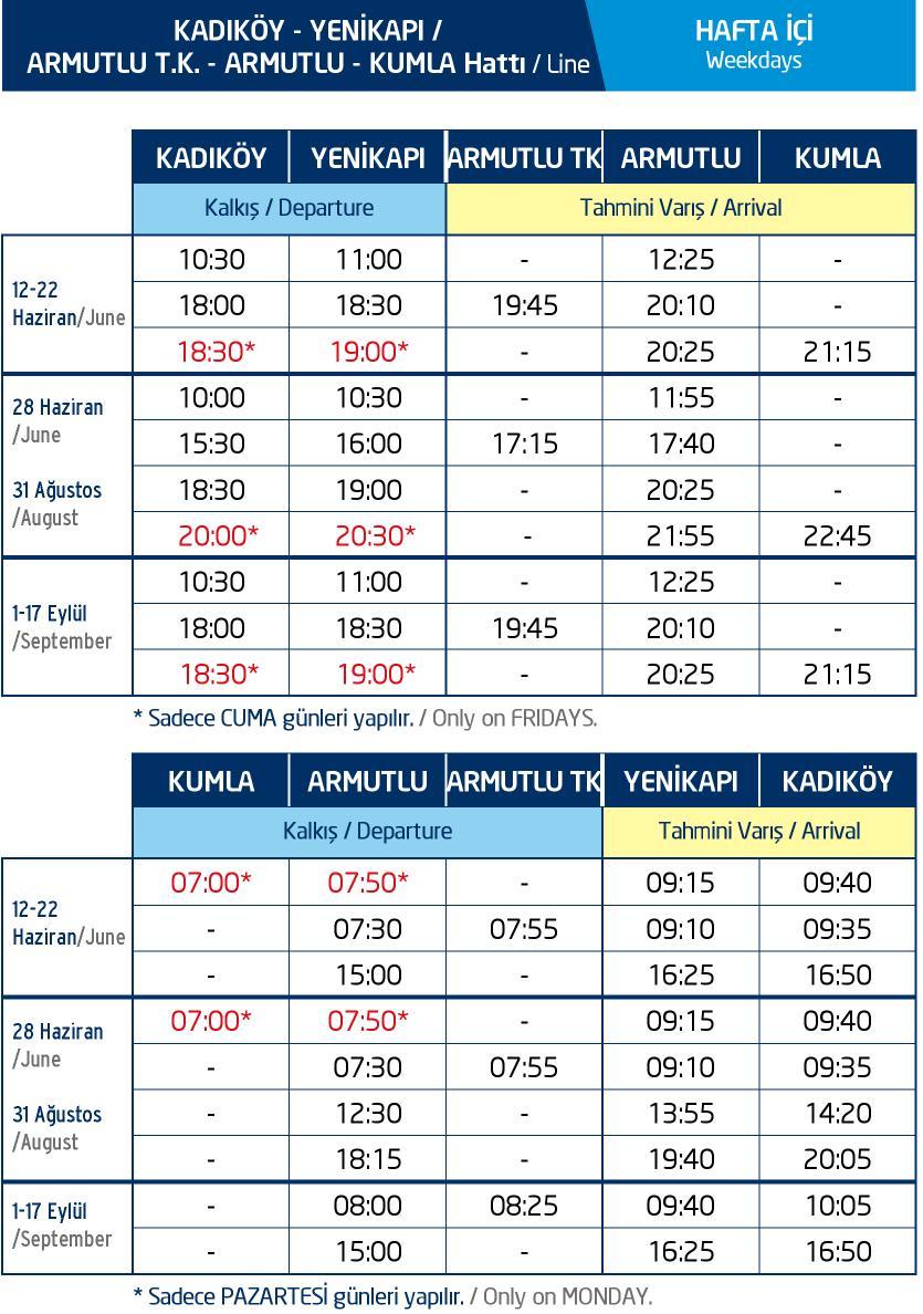 Kadıköy Deniz Otobüsleri Saatleri
